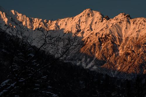 japan 長野県 松本市 北アルプス 焼岳 山 mountain 雪 snow 夕景 sunset