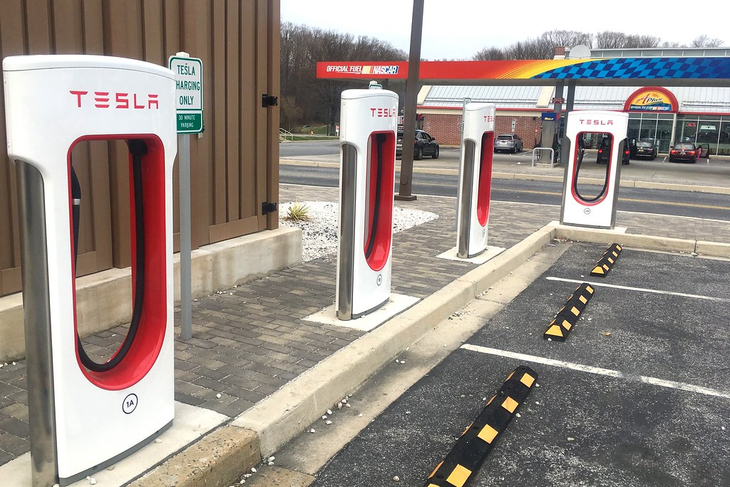 Tesla Super Chargers At Rest Stop