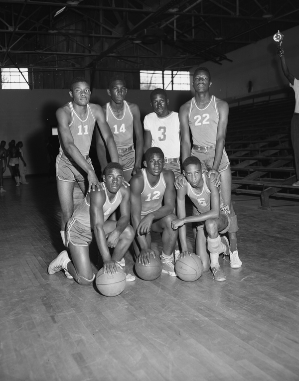 Group portrait of the FAMU High School basketball team in Tallahassee, Florida
