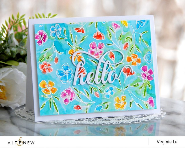 Altenew-FancyHelloDie-DelicateFlowerBedStamp-Virginia#1