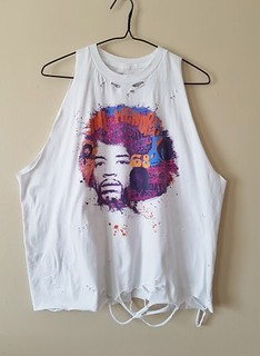 Shredded/Distressed Jimi Hendrix Tank Top Large | by shopthegasstation