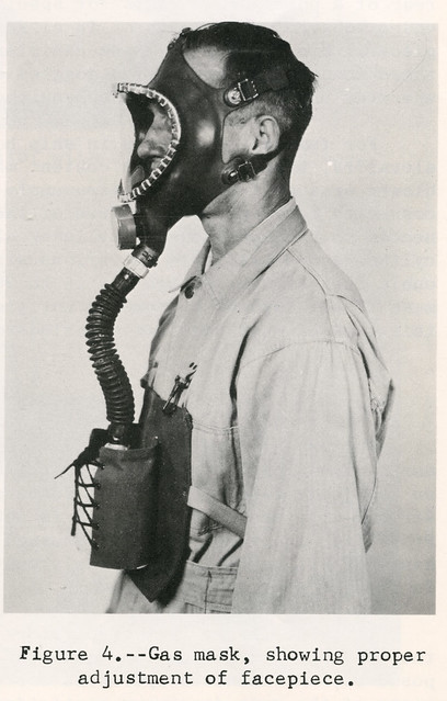 1964. Figure 4. Gas mask, showing proper adjustment of facepiece.