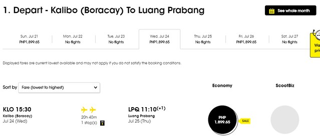 Scoot Airlines Kalibo to Luang Prabang Promo