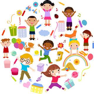 playing_children_cartoon_vector_set_521824