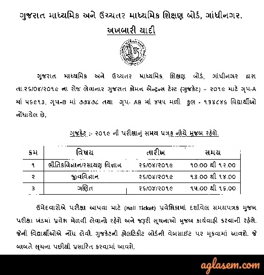 GUJCET 2019 Admit Card / Hall Ticket (Released) - Download from gsebht.in
