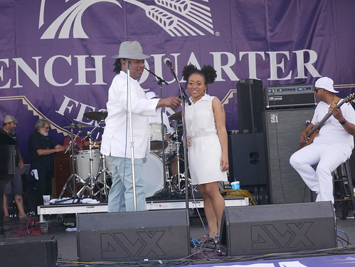 Kermit Ruffins and Neshia Ruffins on Day 1 of French Quarter Fest - 4.11.19. Photo by Louis Crispino.
