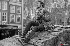 Street musician on Rembrandtplein.