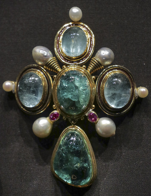Pin, England, London, 1972, designed by Elizabeth Gage, tourmaline, aquamerine, rubies