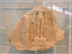 Fragment of a public measure table with relief representation of the statue of an athlete, perhaps Theagenes