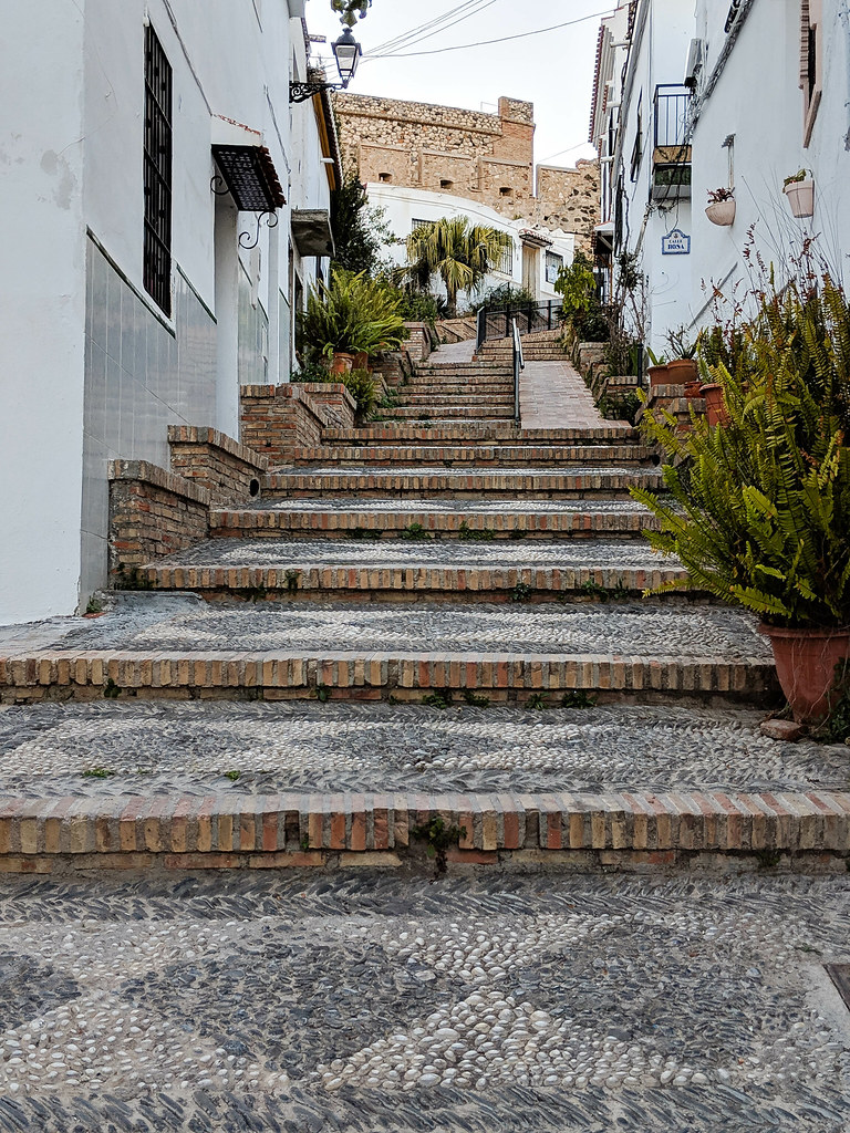 Steps leading to the castle of Salobrena
