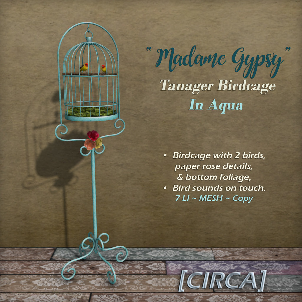 "@ The Boardwalk | [CIRCA] – ""Madame Gypsy"" – Tanager Birdcage – In Aqua"