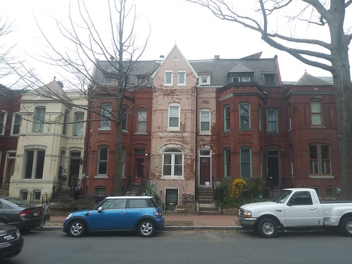 Grouping of three story rowhouses on Capitol Hill, Washington, DC