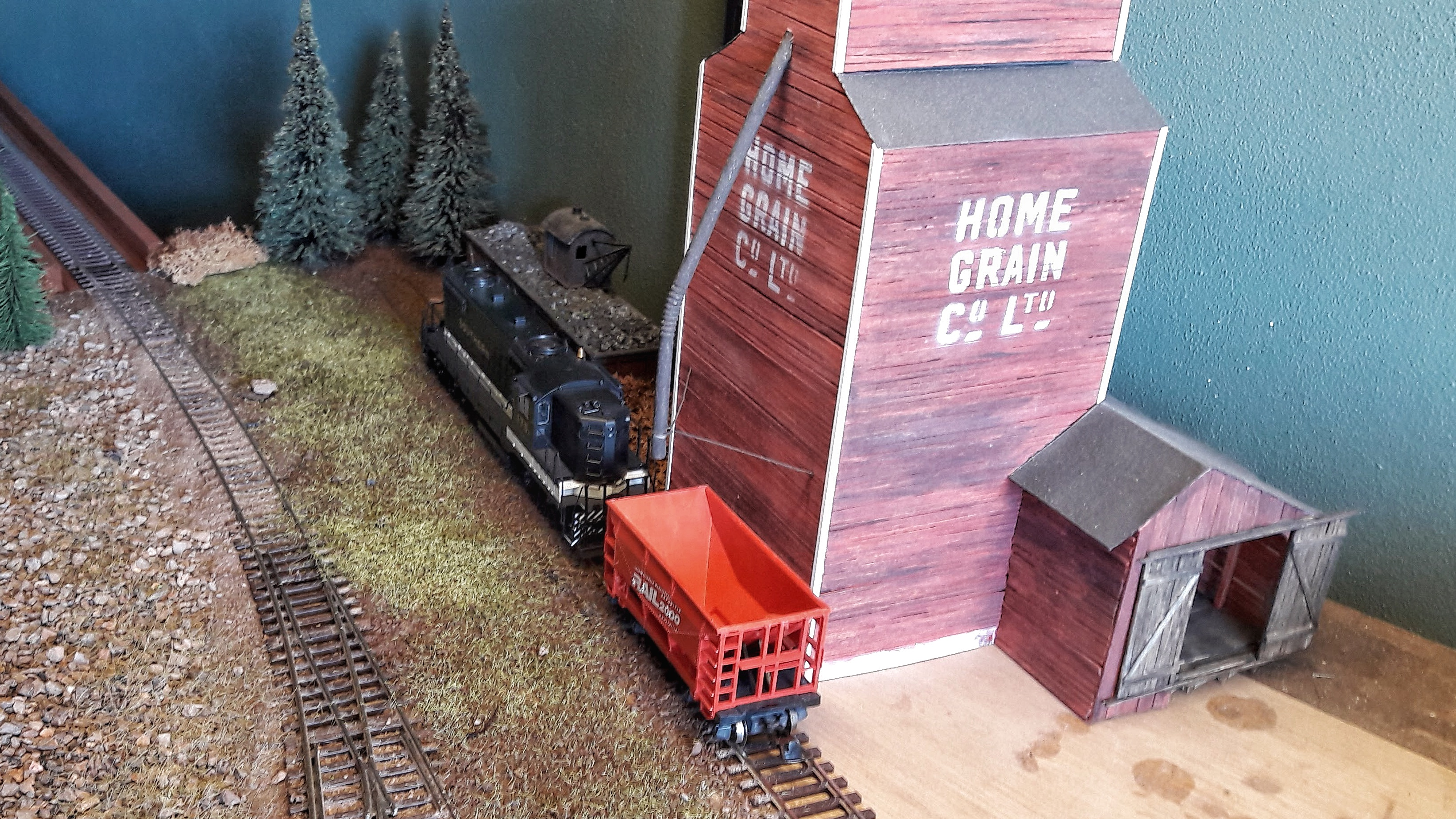 The grain elevator in the far corner of the layout.