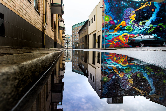 Mural in puddle reflection (explore 2019-01-09)
