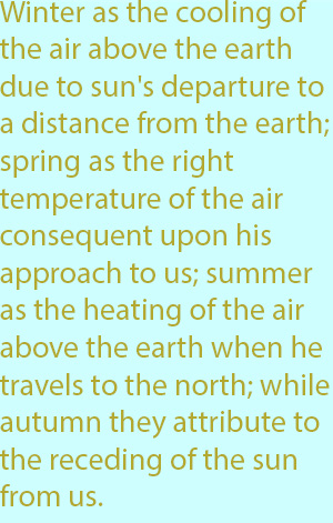 7-1  winter as the cooling of the air above the earth due to the sun's departure to a distance from the earth; spring as the right temperature of the air consequent upon his approach to us; 15summer as the heating of the air above the earth when he tr