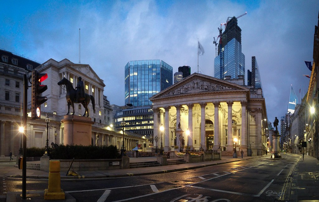 The Royal Exchange and Bank of England, City of London.