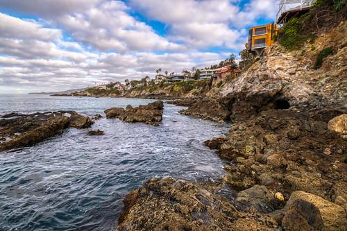 california hdr lagunabeach nikon nikond5300 outdoor pacificocean victoriabeach beach cliff clouds coast geotagged homes house houses ocean outside rock rocks sea shore sky water