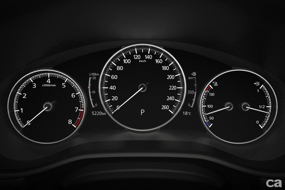 圖四:All-New Mazda3擘劃資訊顯示更豐富的全新7吋TFT全彩數位儀錶,並配置Windshield HUD前檔投影式全彩抬頭顯示器。