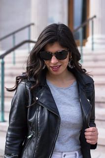 black leather jacket, white jeans, grey tee, suede slingback heels-16.jpg | by LyddieGal