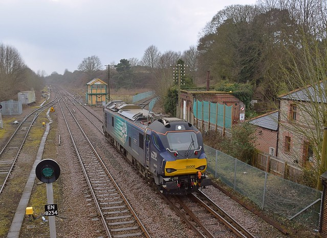 DRS Diesel - Electric dual mode Loco 88008 enroute from York to Norwich Crown Point, passing Wymondham Junction, to where it will return in a few hours. 16 03 2018