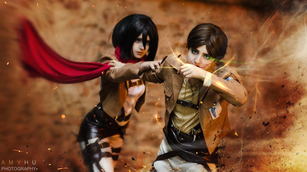 Eren Jaeger Mikasa Ackerman Shingeki No Kyojin Attack On