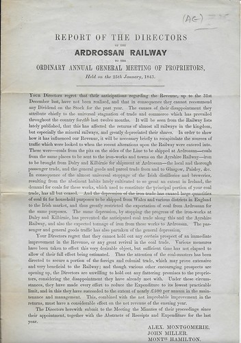 Ardrossan Railway Directors Report 1843 | by ian.dinmore
