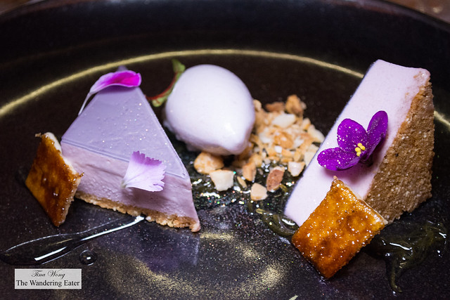 The Maria - violet cheesecake, amaranth and cholate cookie base topped with lavender violet lime gelatin and violet cake and taro and white chocolate ice cream