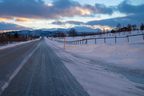 road landscape sunset low light winter nordics