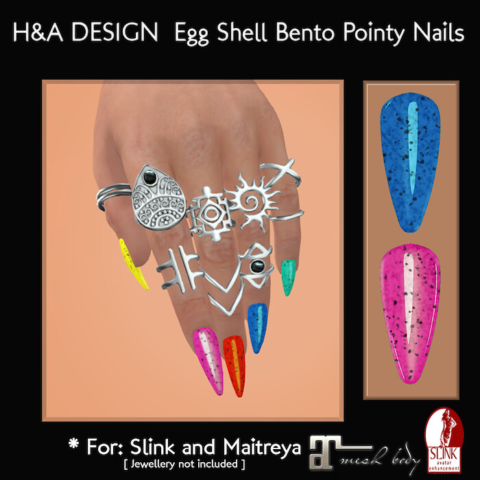 [H&A Designs]-Egg Shell Bento Pointy Nails