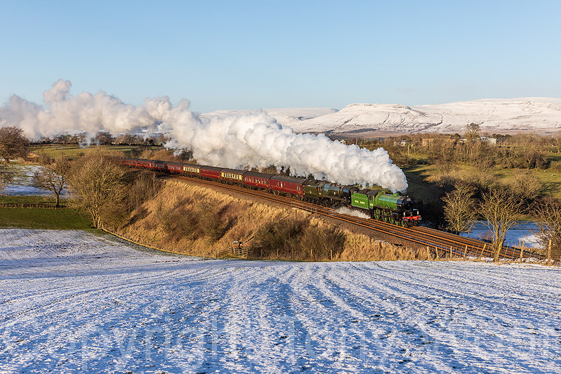 2nd February 2019 LNER B1 61306 Mayflower and Southern Railway Merchant Navy Class 35018 British India Line are seen at Gallansay after the stop at Appleby on the 1Z87 Winter Cumbrian Mountain Express