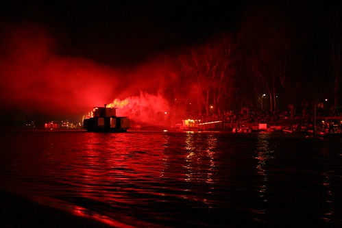 Paddlesteamer sets off flares for the Port of Echuca Easter Spectacular