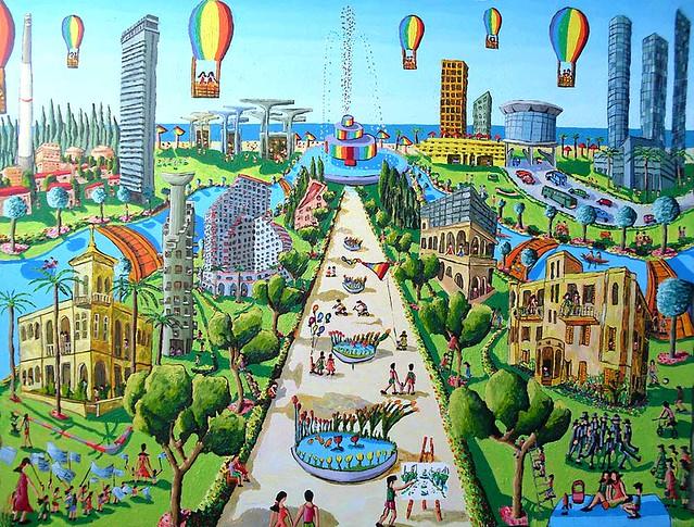 ציורי נוף אורבני ציור ישראלי נופים אורבניים תמונות אווירה תמונה אוירה שמן אקריליק