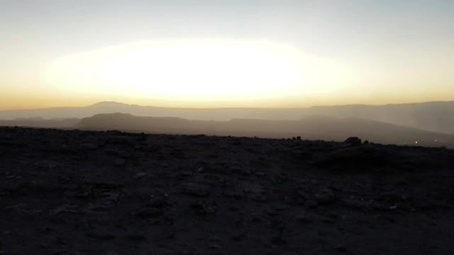 Sunset  at 2.580m., the Coyote Stone (Piedra del Coyote), the Valley of the Moon (Valle de la Luna), San Pedro de Atacama, the Atacama Desert, Chile.