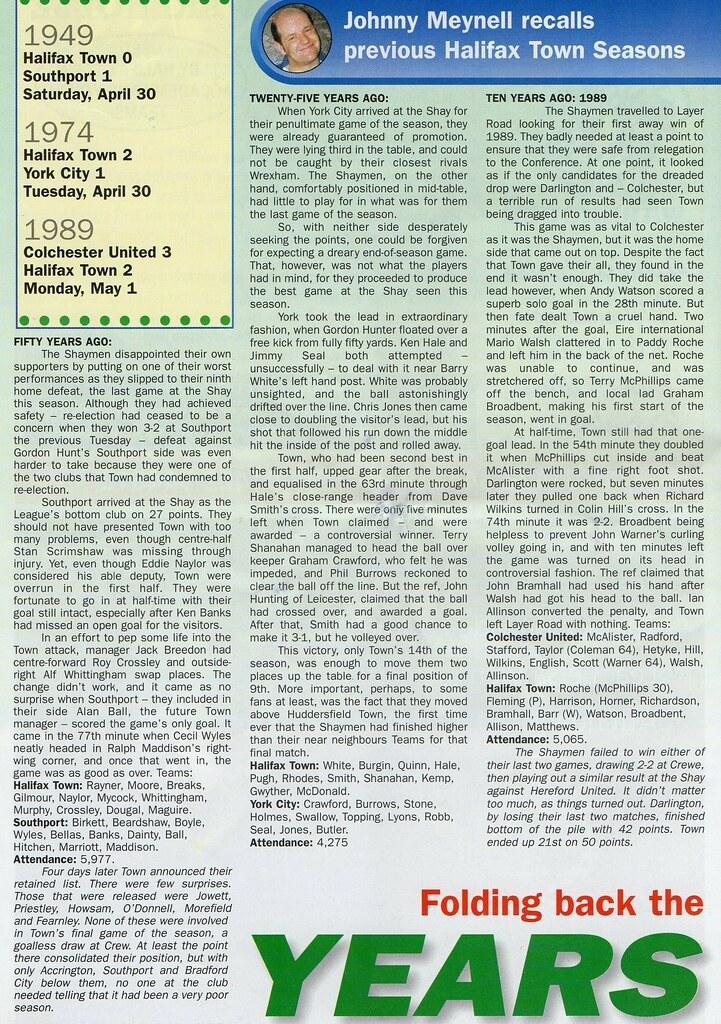 (Programme) 01-05-1999 Halifax Town 1-2 Scarborough 5