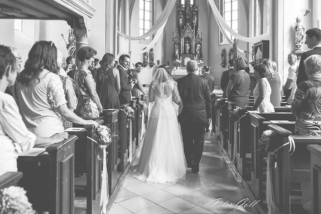 Father leads the bride to the church 116