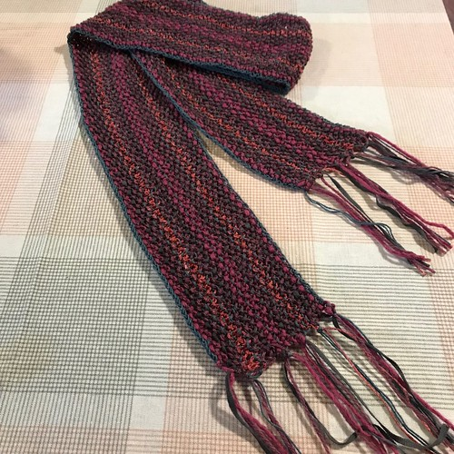 Bev M finished knitting her scarf with her  Berroco Yarn Tasting kit!