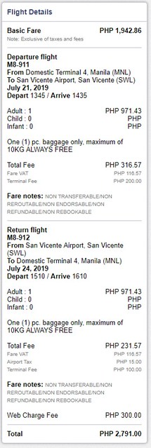 SkyJet Airlines Manila to San Vicente Roundtrip Fare
