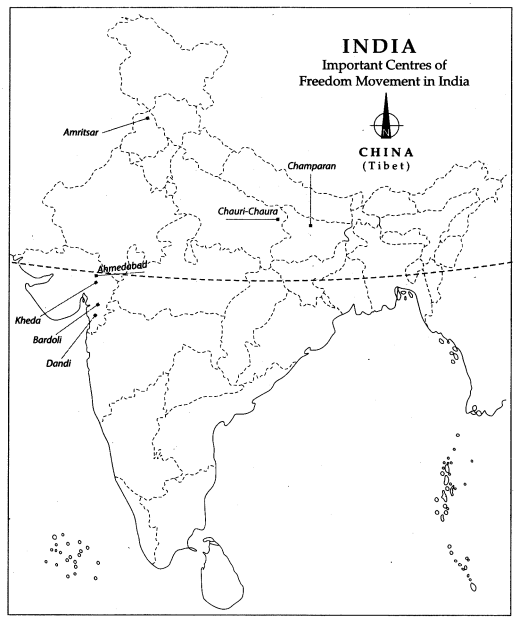 Class 10 History Map Work Chapter 3 Nationalism in India 2