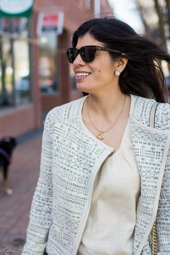 printed jacket, cream blouse, grey jeans, studded bag-3.jpg | by LyddieGal