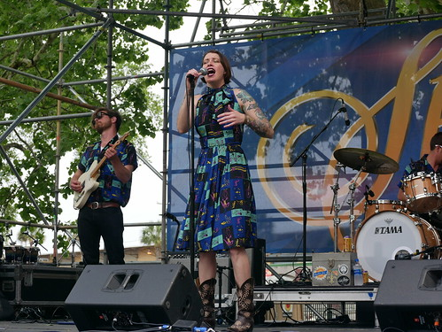 Gal Holiday & the Honky Tonk Revue on Day 2 of French Quarter Fest - 4.12.19. Photo by Louis Crispino.