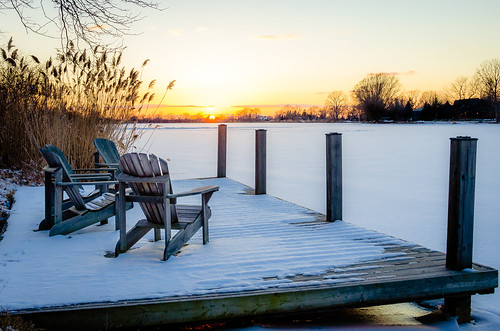 2019 canada february ontario rivercanard snow winter ice river frozen sunset dock