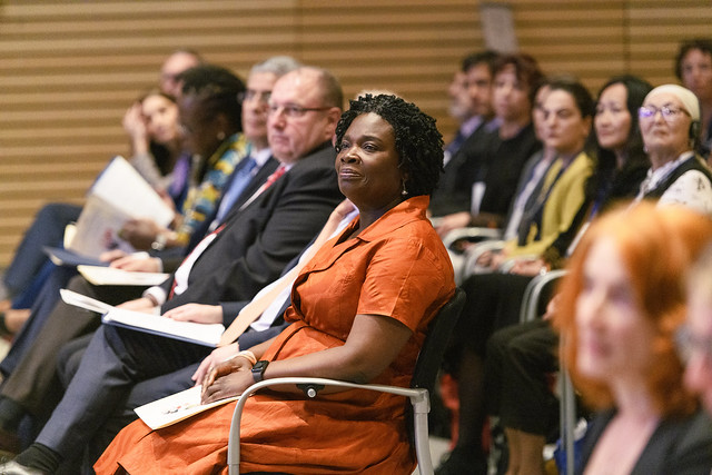 Tue, 04/09/2019 - 15:06 - April 09, 2019 - WASHINGTON DC - 2019 World Bank/ IMF Spring Meetings. World Bank Group CEO Kristalina Georgieva, IFC VP for Latin America & the Caribbean and Europe and Central Asia Georgina Baker, and the Sexual Violence Research Initiative founder Claudia Garcia-Moreno, 11 winners from around the world were awarded prize money to design, implement, and capture results of new solutions, including the first-ever private sector winner. Photo: World Bank / Grant Ellis