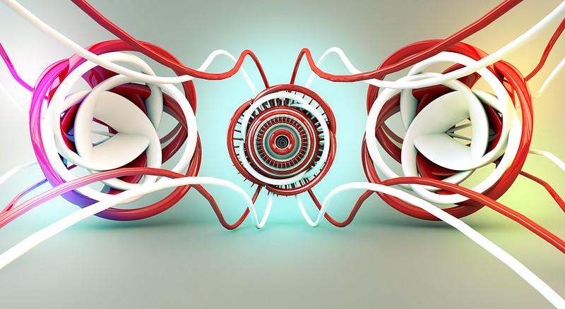 Обои свечение, красный, белый, запутанные линии, абстракция картинки на рабочий стол, фото скачать бесплатно