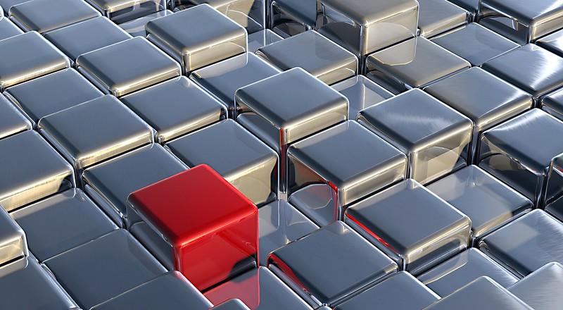 Обои кубы, серебристый, красный, простраство картинки на рабочий стол, фото скачать бесплатно