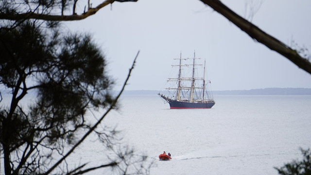 The beautiful James Craig at anchor in Jervis Bay with tender,