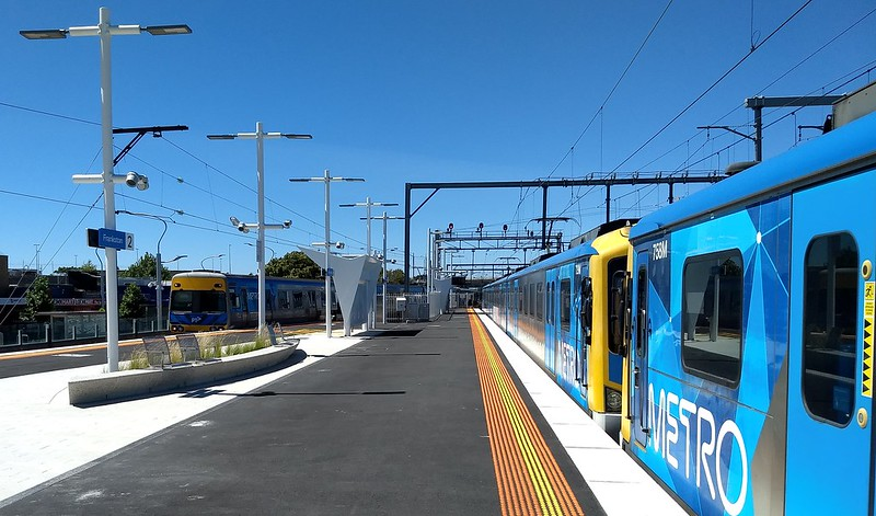 Frankston station, looking north along the platform
