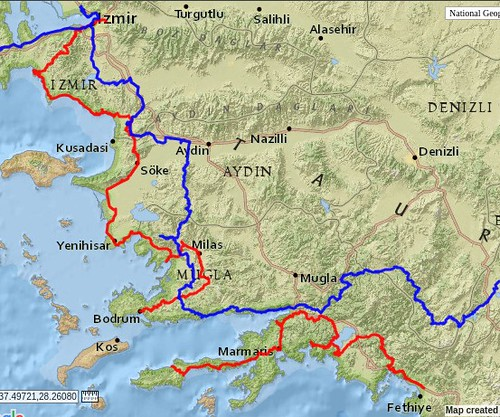 Comparing Feb 2012 (blue) and Dec 2018 (red) Aegean bicycle tours by bryandkeith on flickr