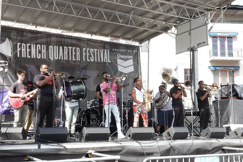 New Breed Brass Band on Day 1 of French Quarter Fest - 4.11.19. Photo by Keith Hill.