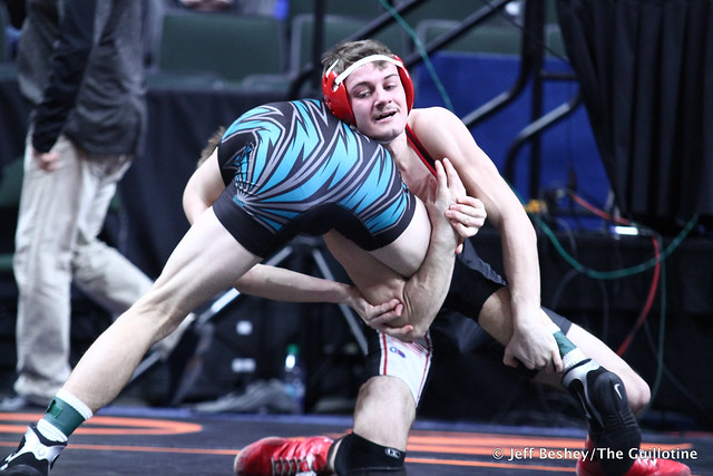 126A Semifinal - Brett Willaby (Windom-Mountain Lake) 35-3 won by decision over Sam Kulseth (Saint James Area) 37-9 (Dec 6-0). 190302AJF0197