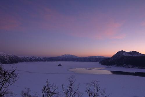 摩周湖 凍結 landscape lake mountains sunrise morning